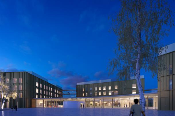 Illustrasjonsbilde av inngangspartiet ved det nye akuttsjukehuset