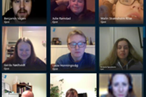 Deltakarane i Skype-møtet mellom ungdomsrådet, avdeling for psykisk helsevern barn og unge og DPS Sunnmøre.