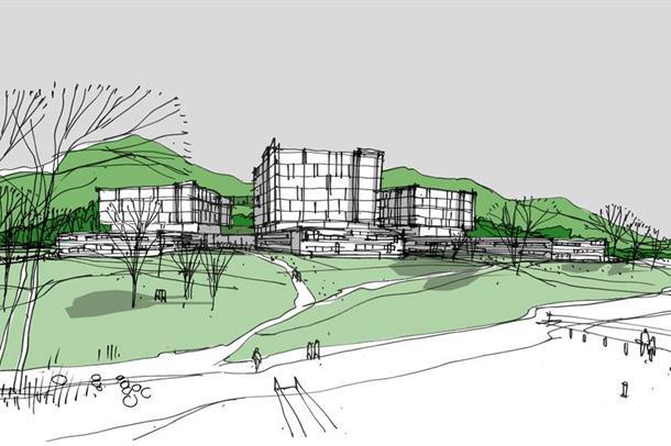 Planskisse etter mogelegheitsstudiet for nytt sjukehus i Nordmøre og Romsdal.